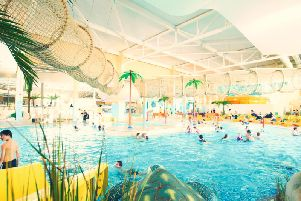 The huge indoor swimming pool provides fun for all the family.