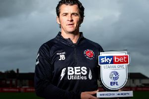 Joey Barton with the Sky Bet League One Manager of the Month award'Picture: Robbie Stephenson/JMP