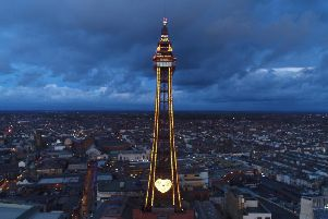 Blackpool Tower goes gold for Slimming World's 50th anniversary. Photo by Derek Wookey