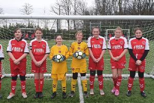 The girls team from Carr Hill High School who represented Fleetwood Town Community Trust