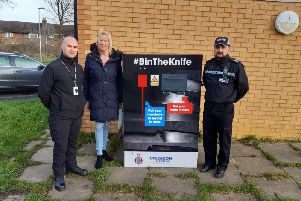 A total of 16 knife bins will be located in busy, well-lit areas as part of Lancashire Constabularys ongoing work to keep knives off the street. (Credit: Lancashire Police)