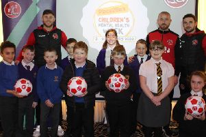 Fleetwood Town FC players with pupils from St Wulstan's and St Edmund's, Chaucer and Flakefleet