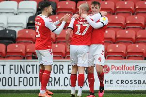 Fleetwood Town celebrate their first goal against Peterborough
