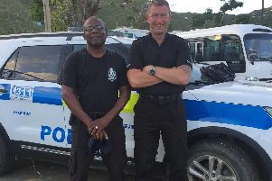 PC Ed Impett with his work partner from the BVI police force