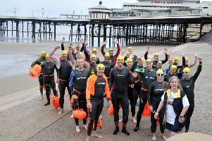 The athletes prepare to swim from the North Pier to the South Pier