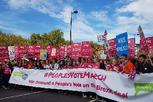 Organisers estimate that 500,000 people are on the People's Vote march in London. Photo: People's Vote