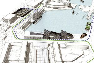 An artists impression of the proposed development of Fleetwood docks