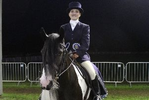 Frodo and Nicolle Walmsley, Frodos groom, in the championship at Equifest