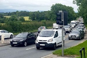 Heavy traffic on the A585
