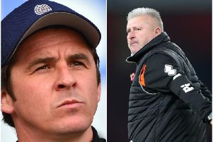 Fleetwood boss Joey Barton and Blackpool boss Terry McPhillips