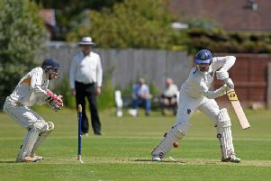 Adam Sharrocks at the crease for St Annes against Fleetwood  Picture: DANIEL MARTINO