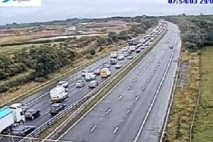 A crash on the M55 junction 1 slip road for the southbound M6 is leading to delays this morning (July 29