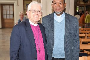 Bishop Julian, pictured at Blackburn Cathedral earlier this year during a visit to Lancashire by The Very Rev. Lazarus Mohapi, the Dean of Bloemfontaine Cathedral.