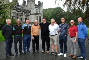 The quarter-finals of the Gazette Matchplay Golf Tournament (sponsored by Blacktax) were held at Lancaster Golf Club. From left, Steve Norwood (Herons Reach), Richard Anderson (Lytham Green Drive), Daryl Prance (Herons Reach), Phillip Smitham (Lytham Green Drive), Ian Wharmby (managing director-Blacktax), Glenn Riches (Fleetwood), Rob Higgins (Herons Reach), Kevin Keating (Lytham Green Drive) and Darren Frame (Herons Reach). Picture: BILL JOHNSON