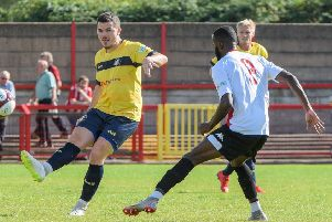 Harry Middleton in action for Gainsborough Trinity at Witton Albion on Saturday. (PHOTO BY: John Rudkin).