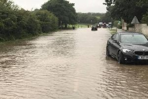 Heavy rain left many roads flooded in Lincolnshire