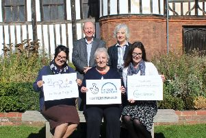 West Lindsey District Council's Mayflower 400 officer, Dr Anna Scott (front right) and councillors Sheila Bibb (centre) and Gillian Bardsley (back right), celebrating the Lottery grant with Victoria Brooks, manager of Gainsborough Old Hall, and Rick Brand, chair of Bassetlaw Christian Heritage.