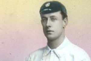 Gainsborough Trinity football legend Fred Spiksley, pictured in his England kit.