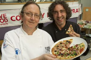 Norman Dinsdale (left) with celebrity chef Richard Fox in his role as a senior lecturer in hospitality management.