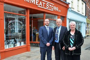 District councillors Jeff Summers and Sheila Bibb with Dave Hale, of Dransfield Properties, outside one of the new businesses.