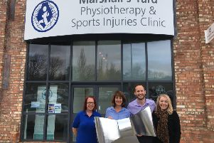 Steven Speers and his team at the opening of the clinic extension at Marshall's Yard in Gainsborough.