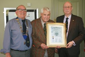 Celebrating 50 years of North Notts Lions in Gainsborough are, from left: Mel Blacknell (president), John Simpson )founder member) and Barry Cooper (vice-president). Photo: Barry Cooper.
