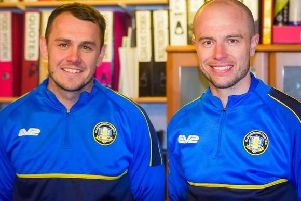 Liam King and Ross Hannah, who have been appointed permanent managers of Gainsborough Trinity.