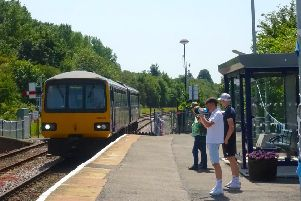 Passengers leave the new waiting shelter to board a Cleethorpes train at Gainsborough Central.