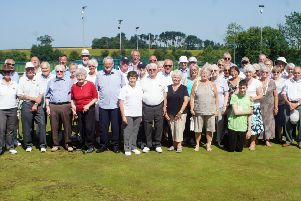 Players, past and present, gather to celebrate Scotter Bowls Club's 50th anniversary. (PHOTO BY: Ray Robinson)