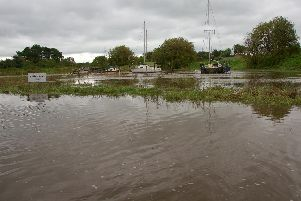 The River Wyre burst its banks at Skippool Creek this afternoon (Picture: Michael Holmes)