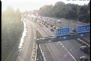 The hold-ups on the westbound carriageway of the M55 (photo Highways England).