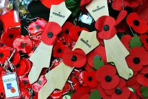 Poppies on sale for the Royal British Legion Poppy Appeal.