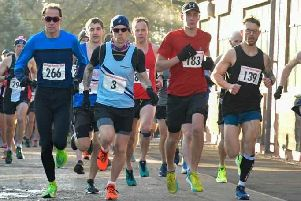 The start of Garstang Running Club's 10-mile race from Myerscough College