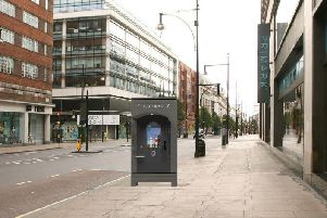 A photomontage of the futuristic phone booth produced by JCDecaux and attached to the planning applications in Preston.