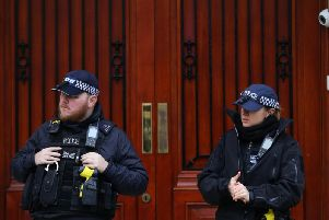 Police officers stand guard outside the Iranian Embassy in Knightsbridge, London, after the US killed General Qassem Soleimani in a drone strike at Baghdad's international airport. Soleimani was head of Tehran's elite Quds Force and Iran's top general (Picture: Aaron Chown/PA Wire)