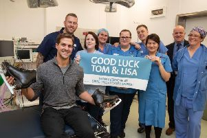 Dancing on Ice professional dancer Tom Naylor (front left) gets the support from staff as he pays a visit to the Spire Fylde Coast Hospital in Blackpool, including his dad consultant Gerald Naylor (rear, right). Picture: Spire Fylde Coast Hospital/Jason Roberts