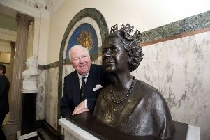 Lord Lieutenant of Lancashire Lord Shuttleworth with a bronze sculpture of the Queen