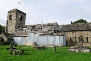 Ribchester St Wilfrid's Church, soon to be officially handed back to parishioners following  the roof repairs.