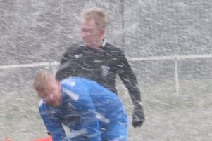 There were blizzard conditions in Saturday's 2-0 win at Thornton Cleveleys