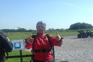 Freda Parker, 61, ready for her sky dive