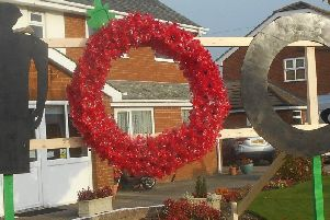 The poppy display created by the residents of Kepplegate House Care Home in Preesall from empty plastic drinks bottles