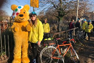 Nicola with Pudsey on a stop off during Power to the Tower with BBC Lancashire #teamgraham