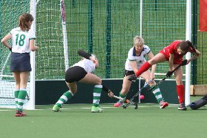 Summer Muirhead scores Garstang's first goal with a reverse stick shot against Preston