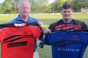 Garstang FC chairman Adrian Wilding and new manager Andy Payton