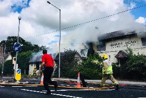 Four fire engines and an aerial ladder platform are tackling the blaze at the pub in Garstang Road, Barton Pic credit: Gordon Head