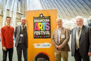 Brighouse Arts Festival launch in London. Left to right: Matthew Harrison-Lord (festival director), Sean English (COO Grand Central Rail), Steven Lord and John Buxton.