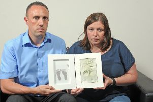 25 June 2019......   Halifax couple Ben Moorhouse and Gaynor Thompson lost their daughter Kallipateira, who was stillborn less than two weeks before her due date.  The couple have raised over �10,000 for the Steve Prescott Foundation and �13,000 for a new Maternity Bereavement Suite at Calderdale Royal Hospital so far.'The couple set up an awareness and fundraising cause in memory of their daughter Kallipateira. Picture Tony Johnson.