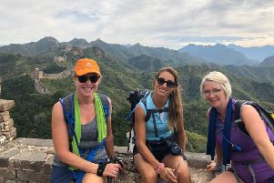 Tracey Booth, Luba Brierley and Beth Robinson at the Great Wall of China