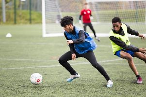 FC Halifax Town youth  training at Calderdale College. Adil Ayub, left, and Musab Aliya, right.