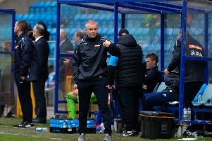 Actions from FC Halifax Town v Harrogate Town, FA Cup match at the Shay. Pictured is Pete Wild